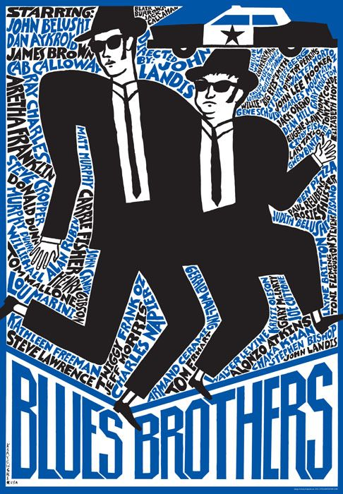 Blues Brothers | Polish Movie Poster, designer: Andrzej Krajewski, year: design 2009- edition 2012