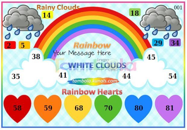 Rainbow Anywhere 1 in 90 - 9x3 - 18 Cues format : Templates Tickets | Tambola Housie