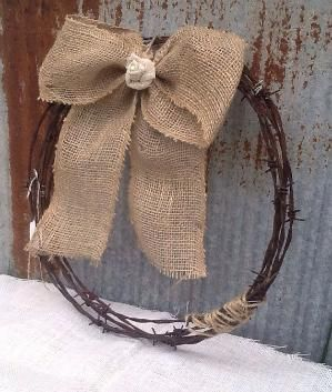 Rustic Barb Wire Wreath With Burlap Bow by ShabbyChicAntique101, $18.00 by lynn7959