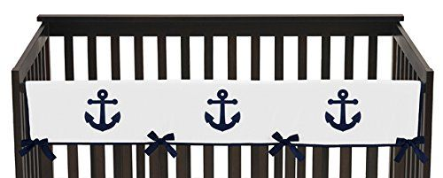 Sweet Jojo Designs Navy Blue and White Nautical Anchor Long Front Rail Guard Baby Teething Cover Crib Protector Wrap