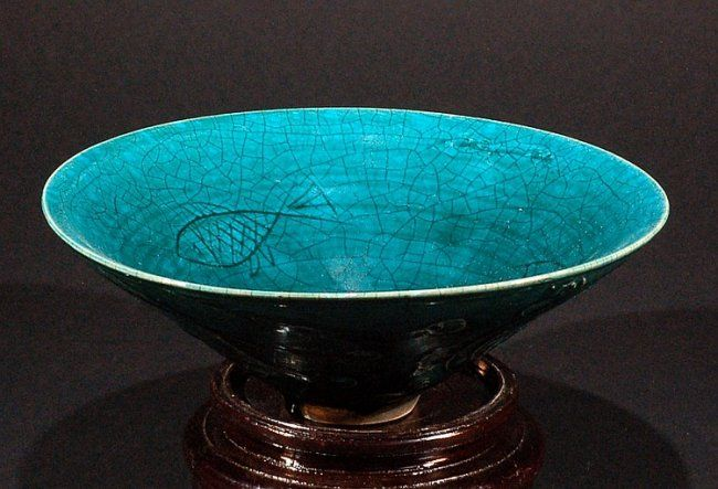 """Chinese Blueish-Green Bowl D 9"""", H 3 1/4"""""""