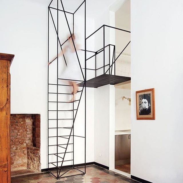 Wireframe staircase by Francesco Librizzi!  Go to  @designbunker for more of what you love!  #milan #italy #furniture #interiors #interiores #interior123 #interiorismo #interior4you #interiordesign #interiorstyling #interiorinspo #interiorwarrior #interior4you1 #interiordecorating #interior_design #interior_and_living #staircase #instadesign #designbunker #designing #diseño #instacool #coolstuff #italia #instafriends #office #shelving #library #modernhome #minimalistics