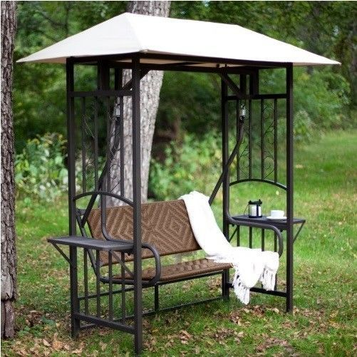 Gazebo Canopy Swing Outdoor Patio Furniture Metal Wicker Glider Table Bench  Set