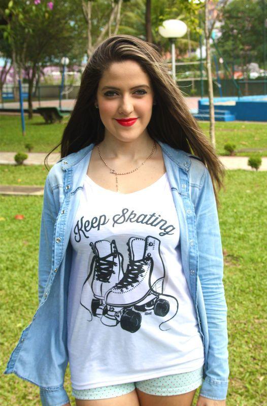 Camiseta | Keep skating preta R$35,00 Heti Skating t-shirt