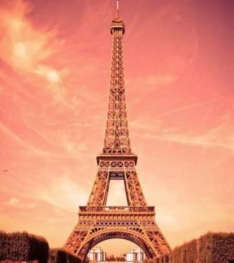 The Eiffel Tower, in peach lighting!