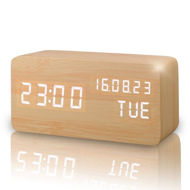 Led Cube Wooden Clock Voice Control Electronic Desk Table Clock