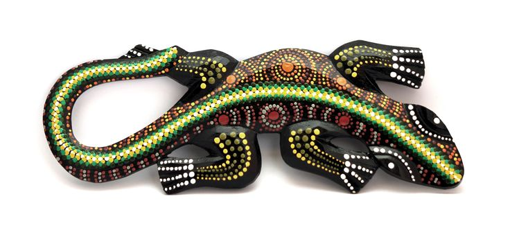 Aboriginal Dot Painted Gecko Wall Hanging- Size 20cm