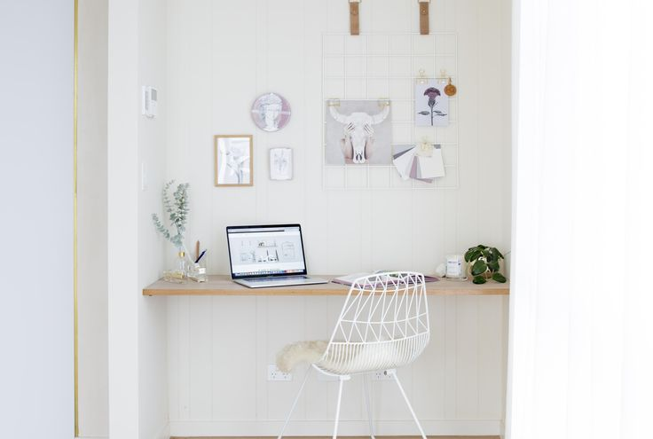 Keys to designing a functional and stylish study nook / office. Include a Grid Mood Board to hang notes, inspirations and artworks. Keep the lines clean with minimal clutter. Positive colours that will motivate you to work. We've included a floating timber shelf and VJ wall panelling in a soft white paint. Grid Mood Board / Wire Grid / Memo Board in White and Biscuit Suede Leather