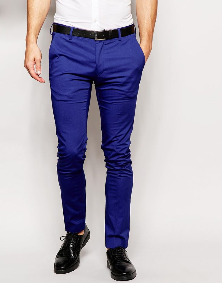 Image 1 ofASOS Super Skinny Fit Cropped Smart Trousers In Blue