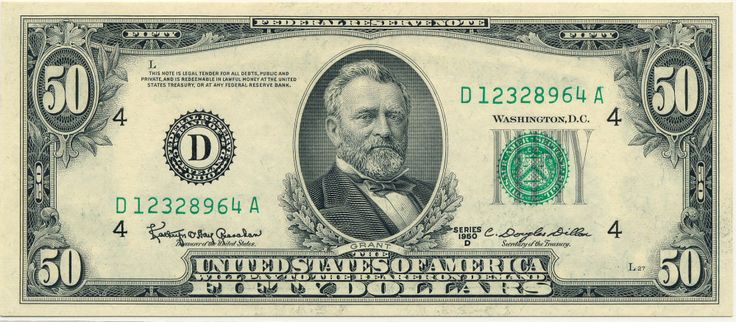 Friedberg 2111D Fifty Dollar Federal Reserve Note Series 1950D Slabbed