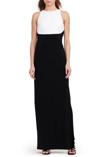 Free shipping and returns on Lauren Ralph Lauren Column Gown (Regular & Petite) at Nordstrom.com. A layered-look bodice alight with sequins offsets a minimalist column skirt of comfortable jersey. $200
