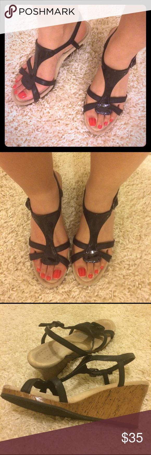 """3"""" BLK PATENT LTHR WEDGES Classy pair of 3"""" patent leather, summer sandals. These are Rockport with Adidas """"Adiprene"""" technology, which is similar to memory foam. (I believe both brands were under the same parent co at the time) Super comfy! Lightly warn. Straps around ankle. Rockport Shoes Wedges"""