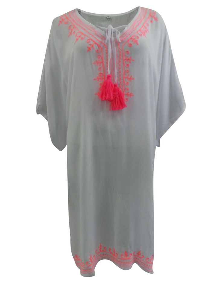 Free and easy one size kaftan with contrast embroidery, comfortable resort wear. Can be worn as a cover-up or knee length dress.