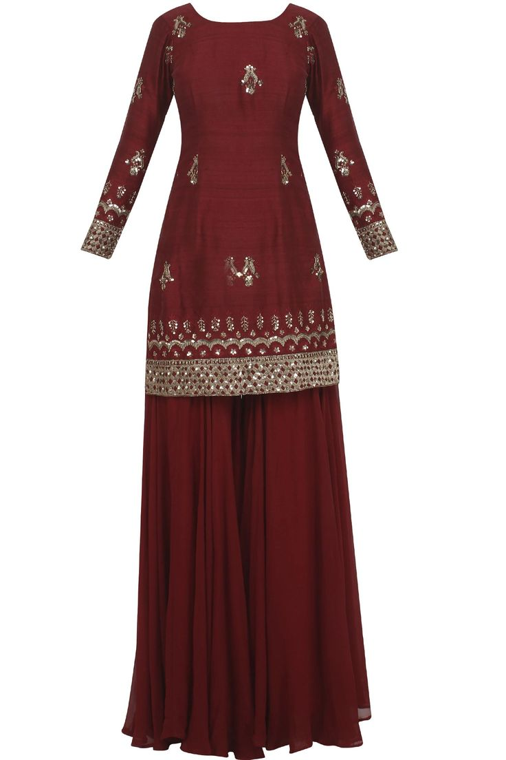Maroon and gold sharara set