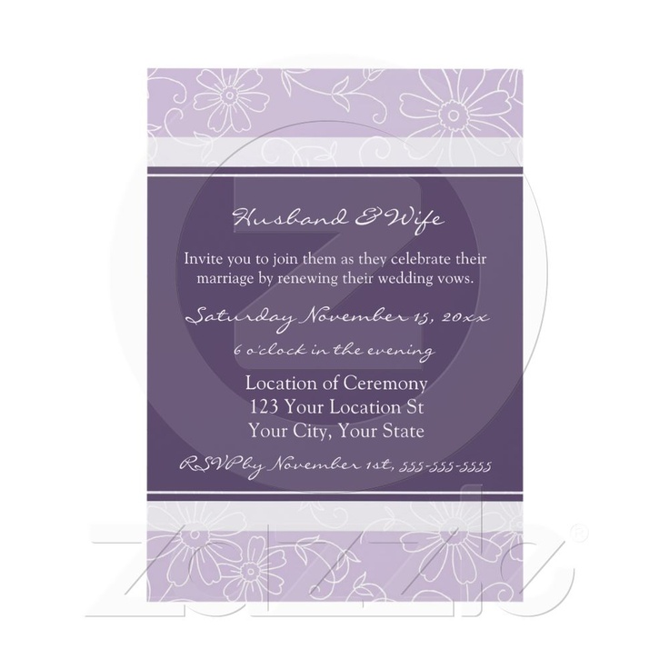 wedding renewal invitation ideas%0A Purple White Wedding Vow Renewal Invitations