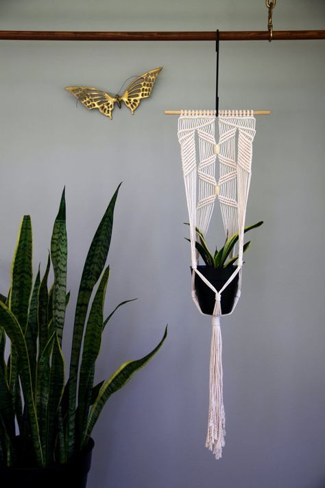"Macrame Plant Hanger - 45"" Knotted Natural White Cotton Rope - Indoor Hanging Planter on Wooden Dowel w/ Beads - MADE TO ORDER"