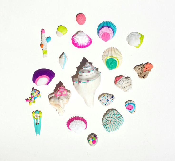 Neon Coral and Seashells 20 piece collection by bonjourfrenchie