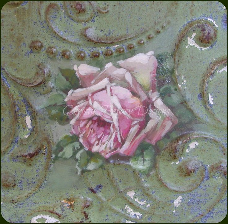 """""""I love painting on vintage tin"""" C.Repasy"""
