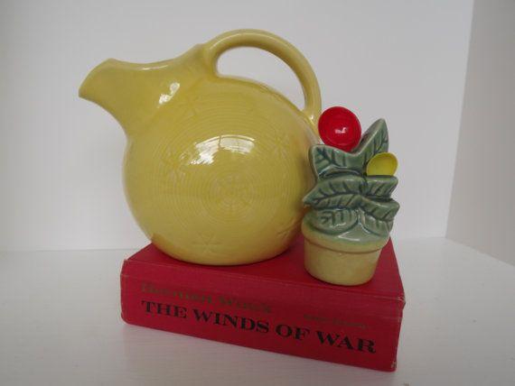 Vintage Shawnee Yellow Snowflake Ball Jug & Shawnee Flower Pot Measuring Spoon Wall Pocket Circa 1939 on Etsy, $36.00