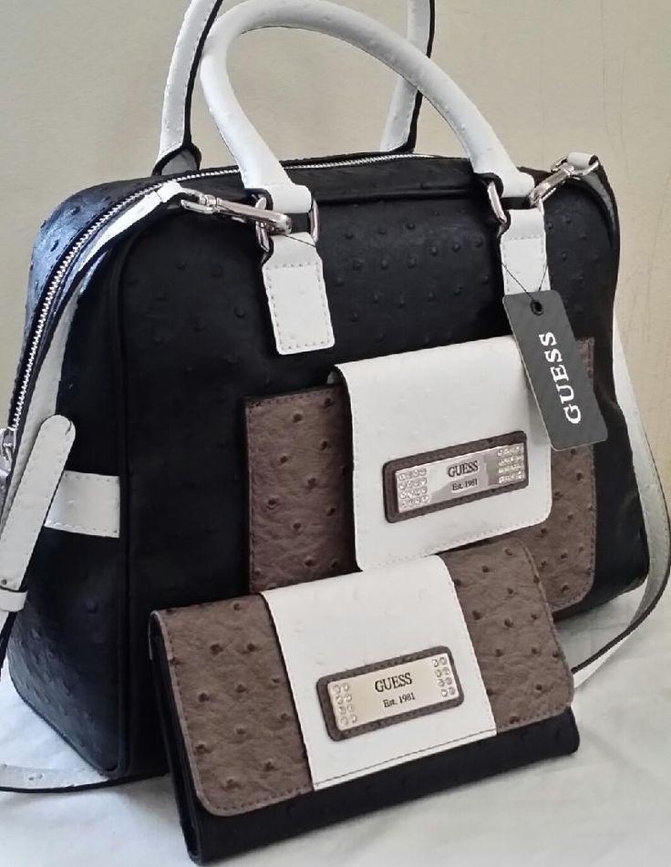 Gorgeous Guess Black Gray White Satchel Handbag Purse Wallet