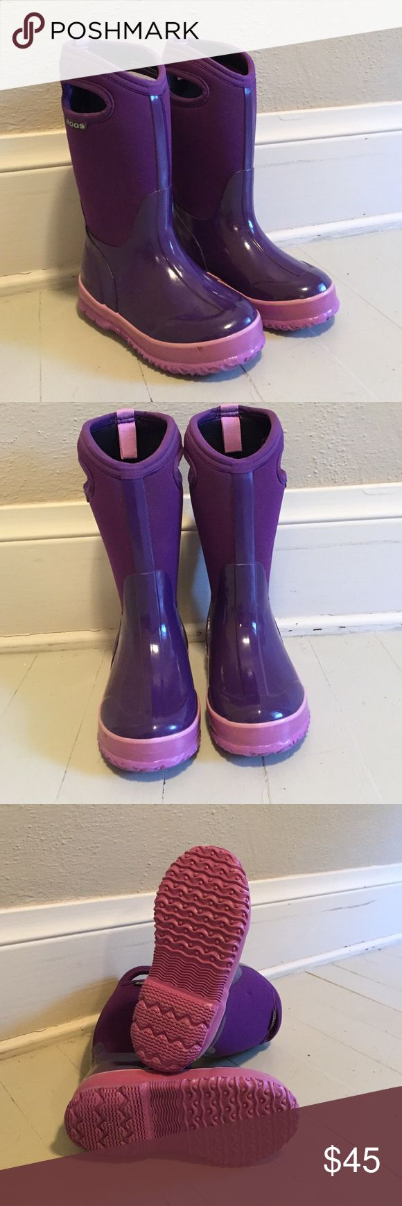 Like New,  BOGS Size 13 Girls Winter Boots. Purple and lavender BOGS winter boots. Like new condition. Only sign of wear is a small black scuff on the first image on the left front boot. Bogs Shoes Rain & Snow Boots