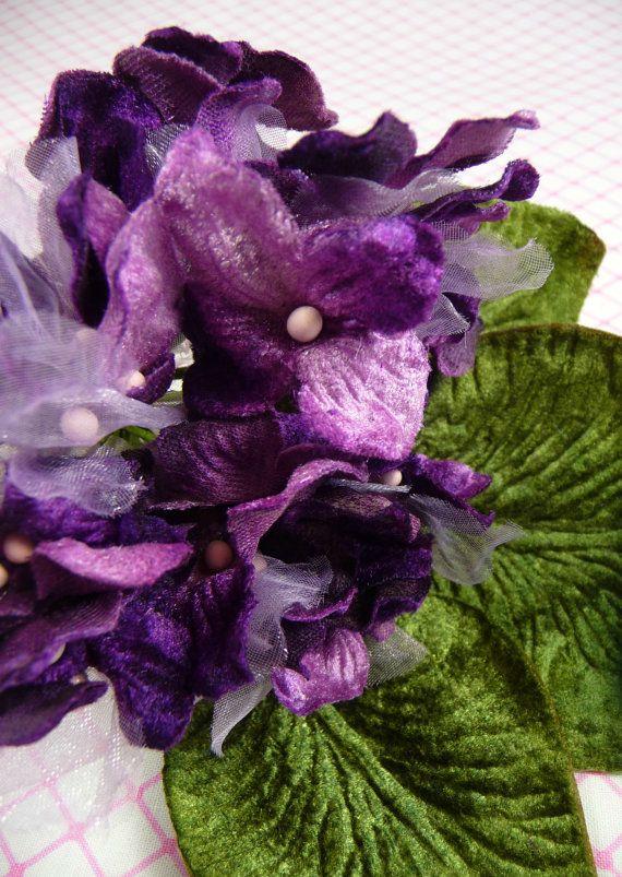 Velvet and Organdy Flowers Millinery Hydrangea by APinkSwan, on Etsy