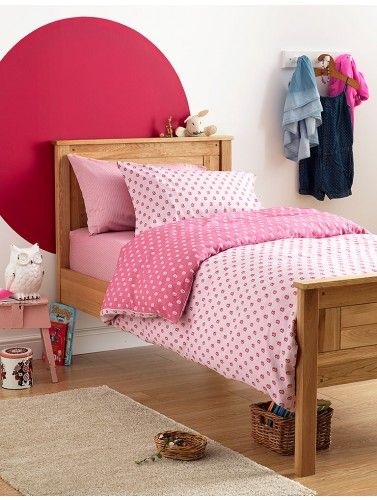 Pretty pink bedroom with our super soft Pink Flowers bedding set. Reversible shades of pink with dainty flower design.