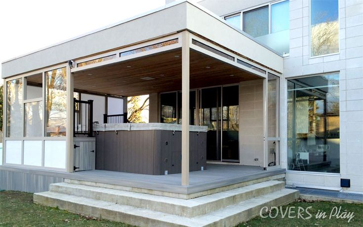 #Covered #patio #area for #swim #spa #enclosure enclosed with #bifolding #doors and windows in wall sections.