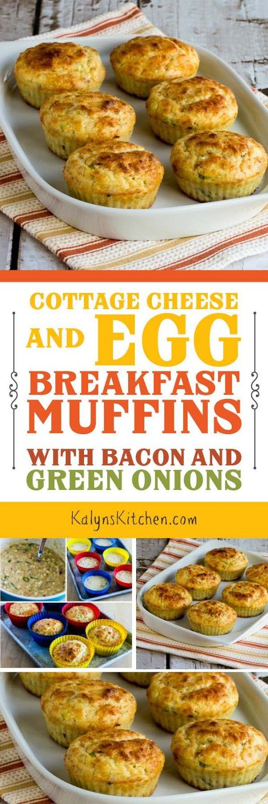 I LOVE these Cottage Cheese  and Egg Breakfast Muffins with Bacon and Green Onions; and this tasty recipe reheats well so you can make them on the weekend and reheat all week. These breakfast muffins are low-carb, low-glycemic, and South Beach Diet friendly, and they can easily be gluten-free if you sub quinoa flakes for the white whole wheat flour! [found on KalynsKitchen.com]