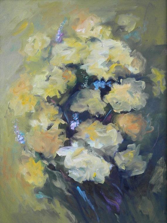 Original signed vintage oil painting art oregon by annabel for Oregon craft floral