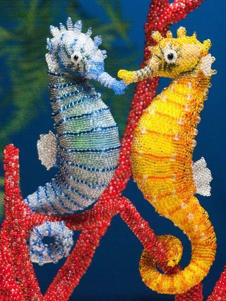 Морские коньки на ветке коралла | biser.info - всё о бисере и бисерном творчестве: