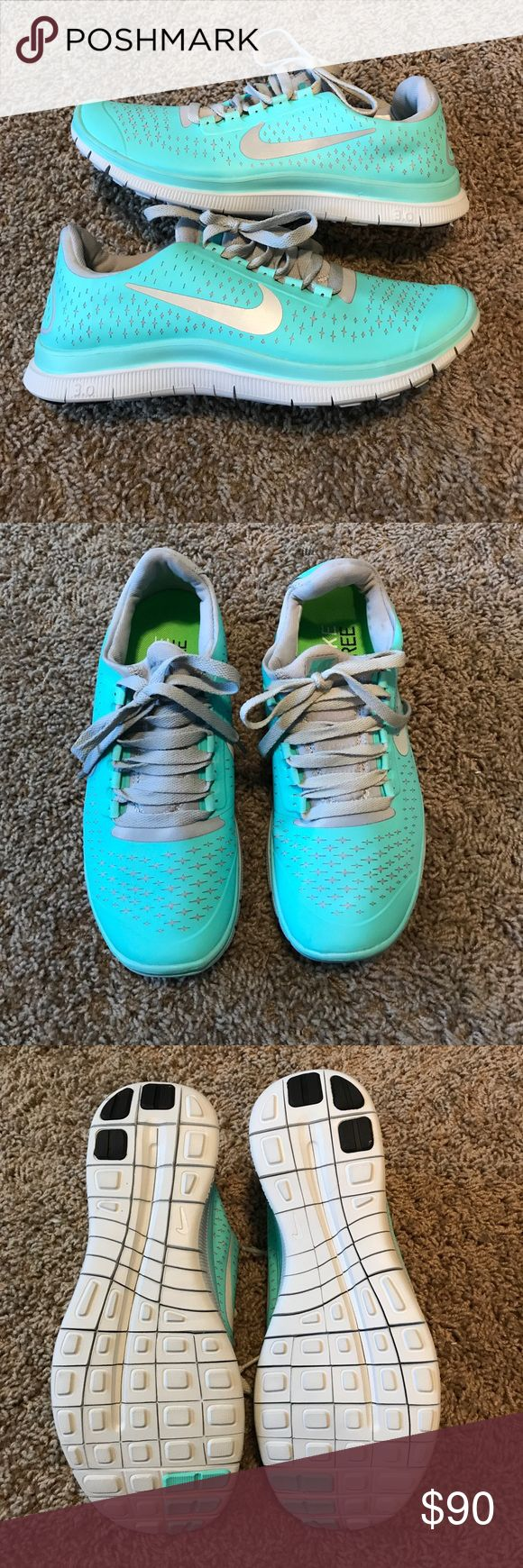 Tiffany Blue Nike free run 3.0 These shoes are gorgeous!!! They are a little too small for me so I never wore them, but wish I could've!!! Nike Shoes Athletic Shoes