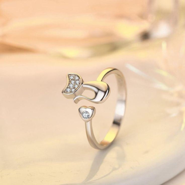 Adjustable Silver Plated Cat wrap Ring with Crystals