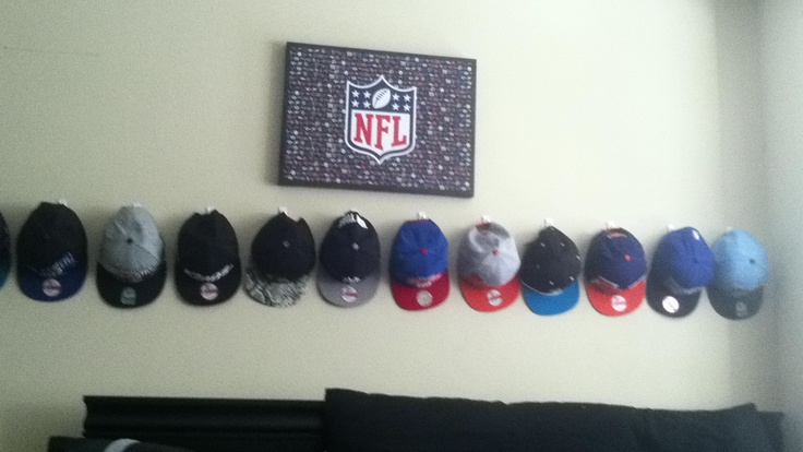 Keep baseball caps neat and displayed when not wearing for Hat hanging ideas