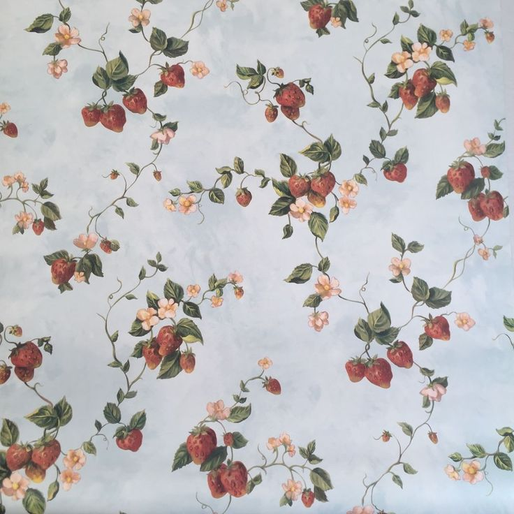 Beacon Brewster Wallpaper Strawberry Flower Floral Berry Vine Blue Lot 2 Rolls #Brewster