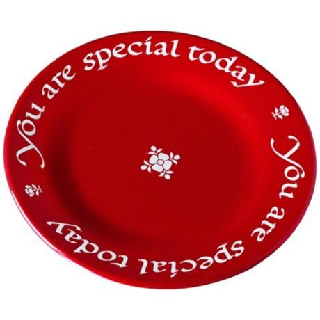 "family tradition!- ""You are Special Today"" Red Plate"