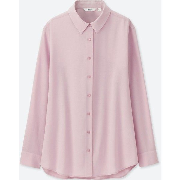 UNIQLO Women's Rayon Long-sleeve Blouse ($30) ❤ liked on Polyvore featuring tops, blouses, pink, cocktail blouses, collar blouse, rayon tops, pink long sleeve top and long sleeve tops