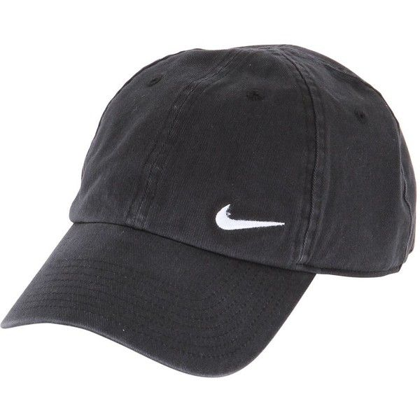 NIKE Swoosh Cotton Baseball Hat - Black ($18) ❤ liked on Polyvore featuring accessories, hats, hair, black, baseball hats, black baseball hat, nike, cotton hat and nike hats