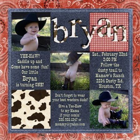 17 Best images about 1st BirthDAY – Cowboy First Birthday Invitations