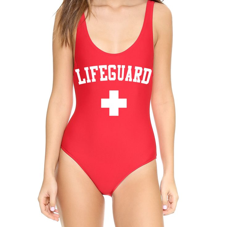 One Piece Red LIFEGUARD Suit Monokini Swimsuit Women Teen Swimwear- Fun Saying Swimming Suit- Halloween Costume Onepiece- Life Guard by ADashofChic on Etsy https://www.etsy.com/listing/482803067/one-piece-red-lifeguard-suit-monokini