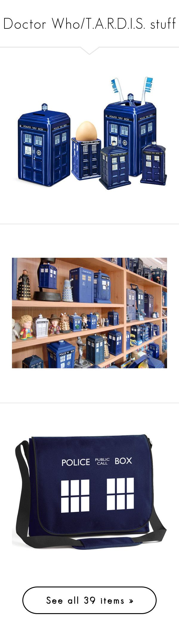 """""""Doctor Who/T.A.R.D.I.S. stuff"""" by potato-cloud on Polyvore featuring bags, messenger bags, doctor who, accessories, pattern bag, distressed messenger bag, laptop bags, blue messenger bag, padded bag and home"""