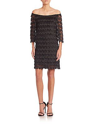 Trina Turk Rosaura Off-The-Shoulder Lace Dress - Black
