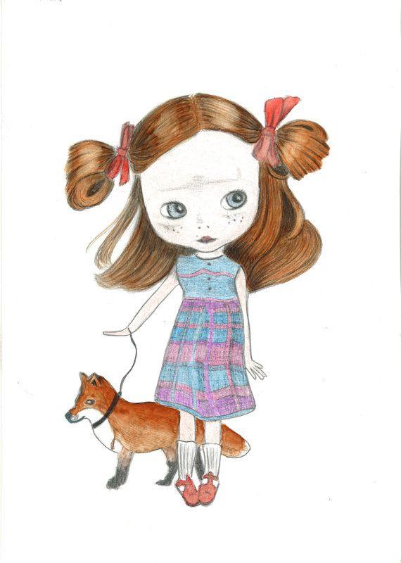 Blythe pop tekening  origineel  meisje met rood haar door Kittyken