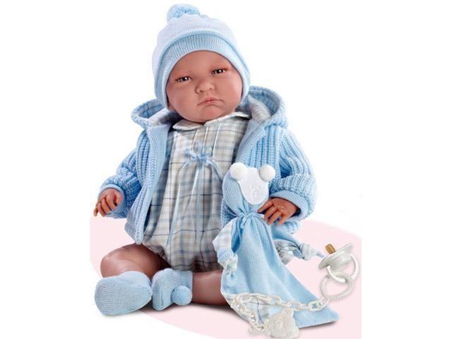 Lalo síró újszülött baba kék kardigánban 40 cm - Baba, játék baba, kiegészítők…