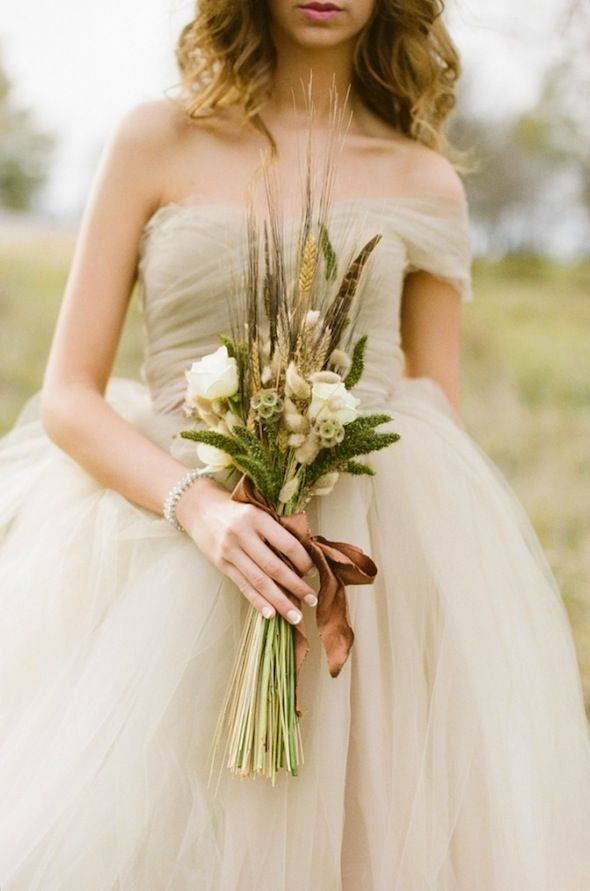 Wheat bouquet! Perfect for an November wedding!