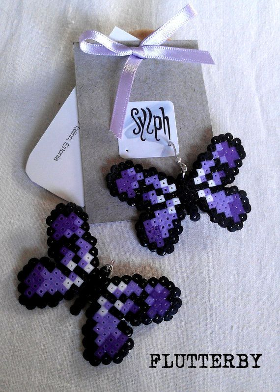 Earrings made of Hama Mini Beads  Flutterby purple by SylphDesigns, €5.00