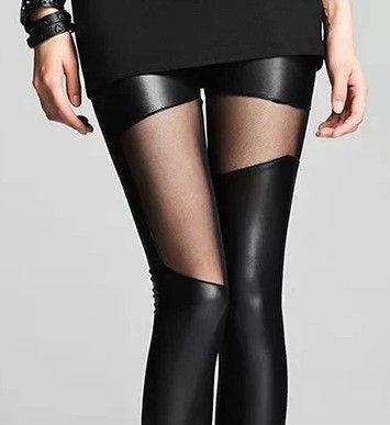 Primavera gaze couro patchwork falso Entrega rápida verão legging fêmeas magros calças de couro da tendência sensuais 6.77