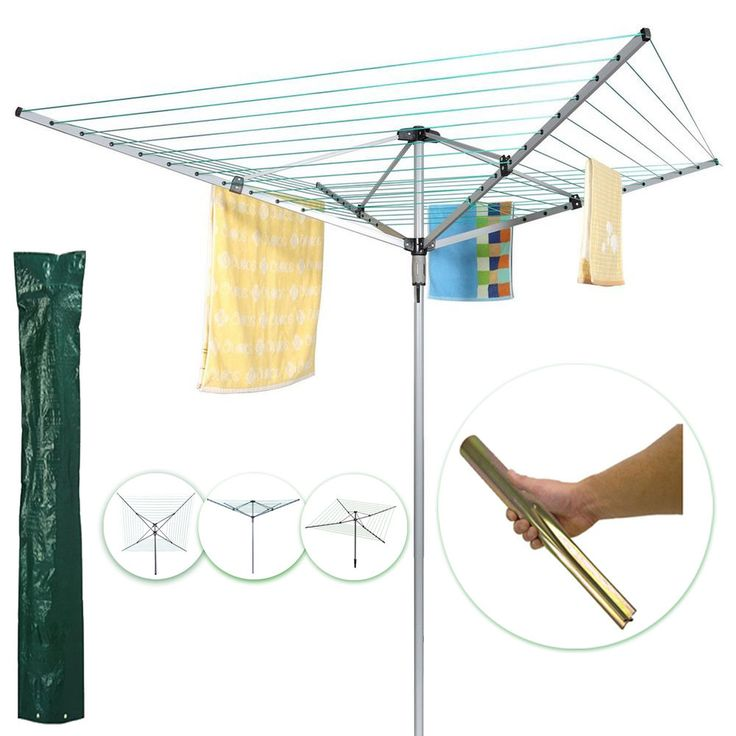 Premium Large Tall 4 Arm 40M/50M Rotary Clothes Airer Outdoor Washing Line Dryer