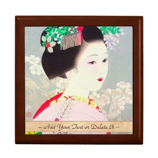Spring Figure japanese lady woman Kato Shinmei Jewelry Box