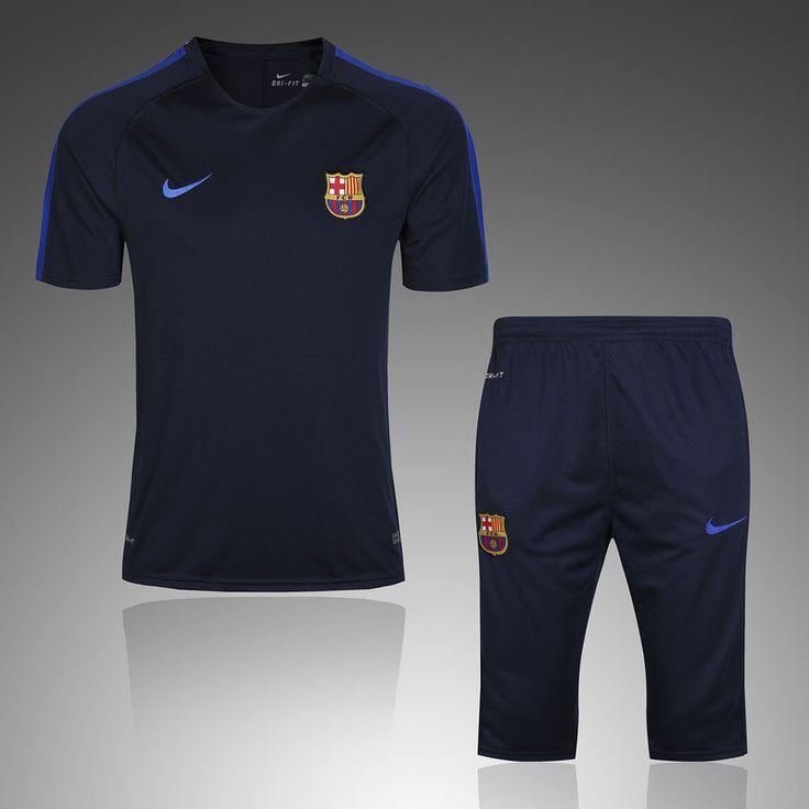 Barcelona 2016/17 Royal blue Short Sleeve Men Tracksuit Slim Fit